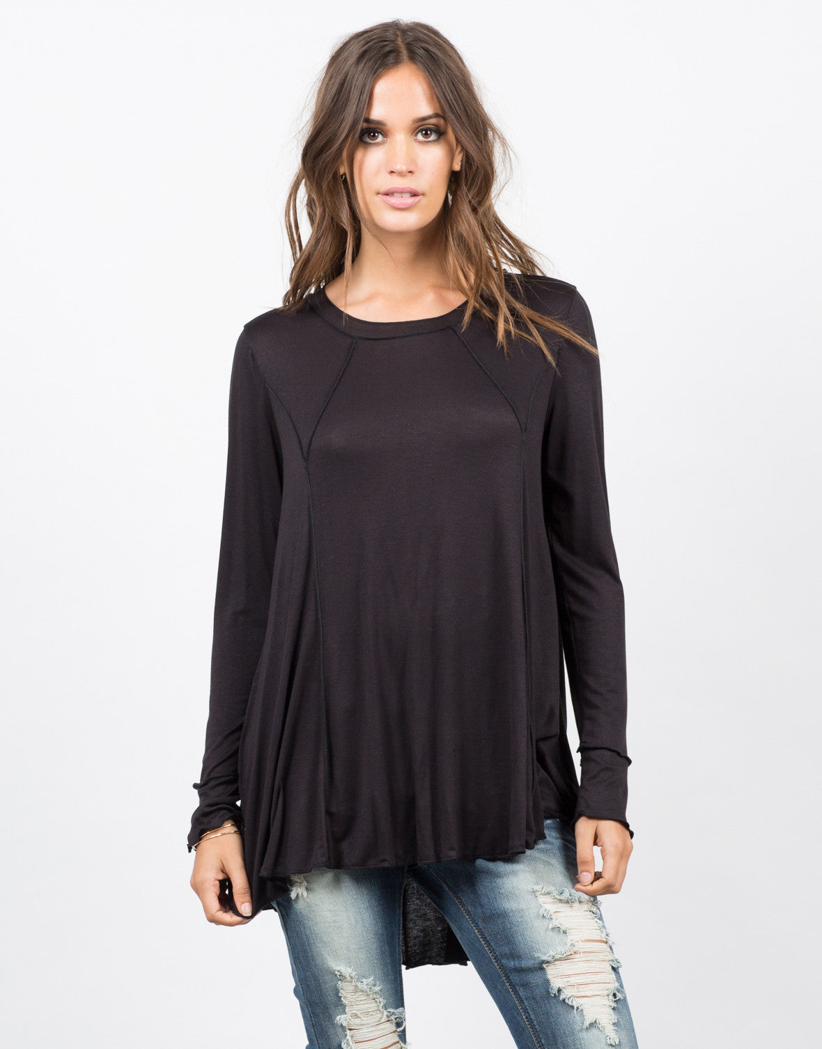 Front View of Exposed Seams Tunic Top