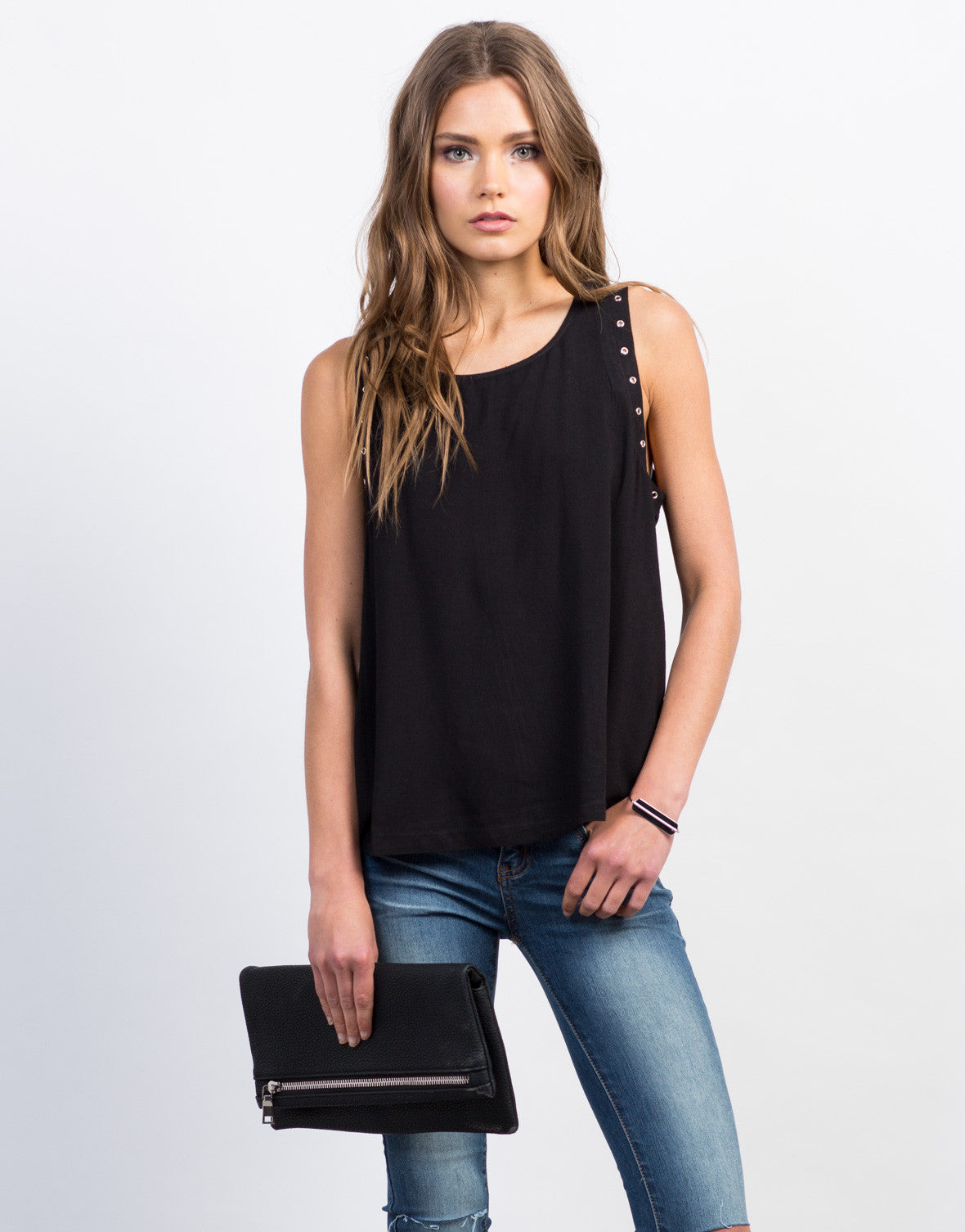 Front View of Eyelet Studded Sleeveless Tank