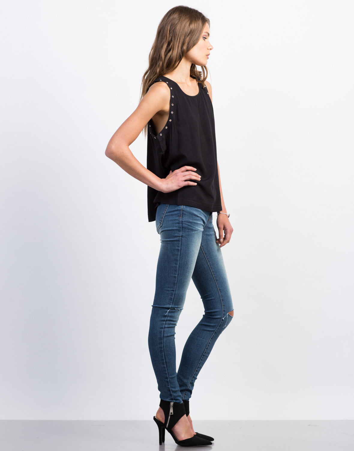 Side View of Eyelet Studded Sleeveless Tank