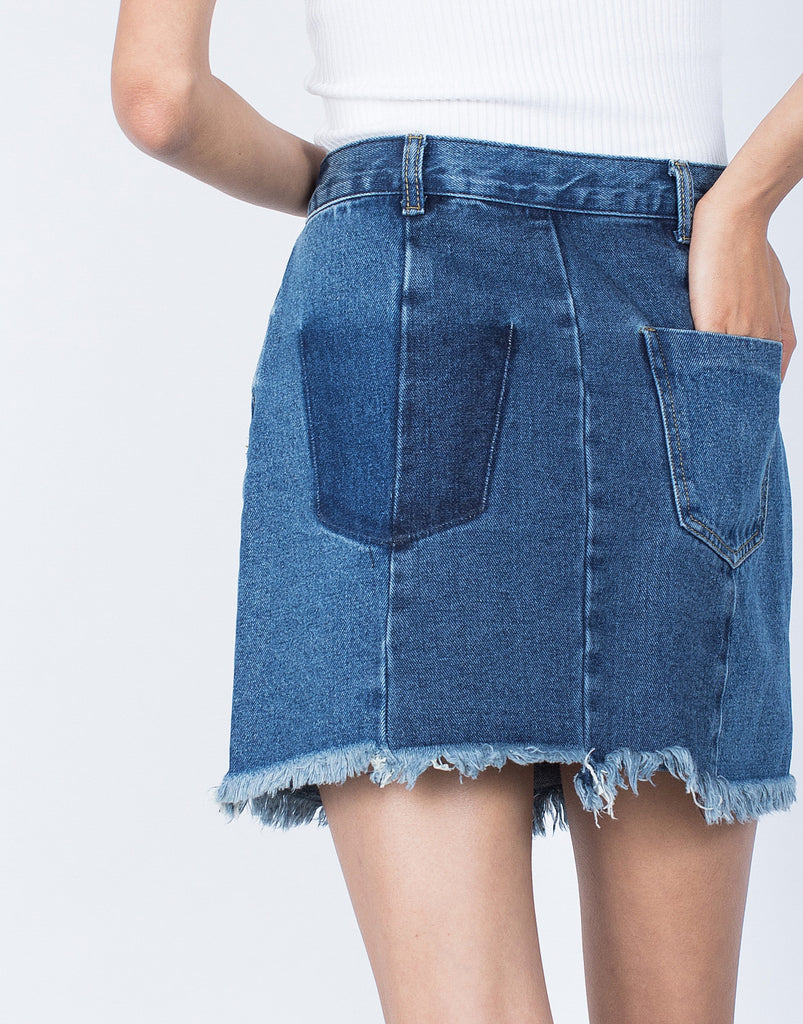Blue Denim Fade Away Pocket Skirt - Detail View