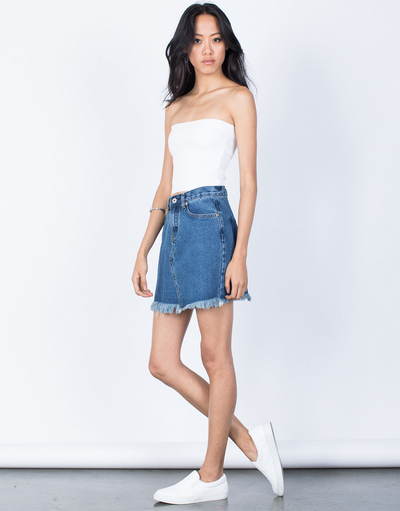 Blue Denim Fade Away Pocket Skirt - Side View