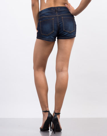 Back View of Faded Dark Denim Shorts