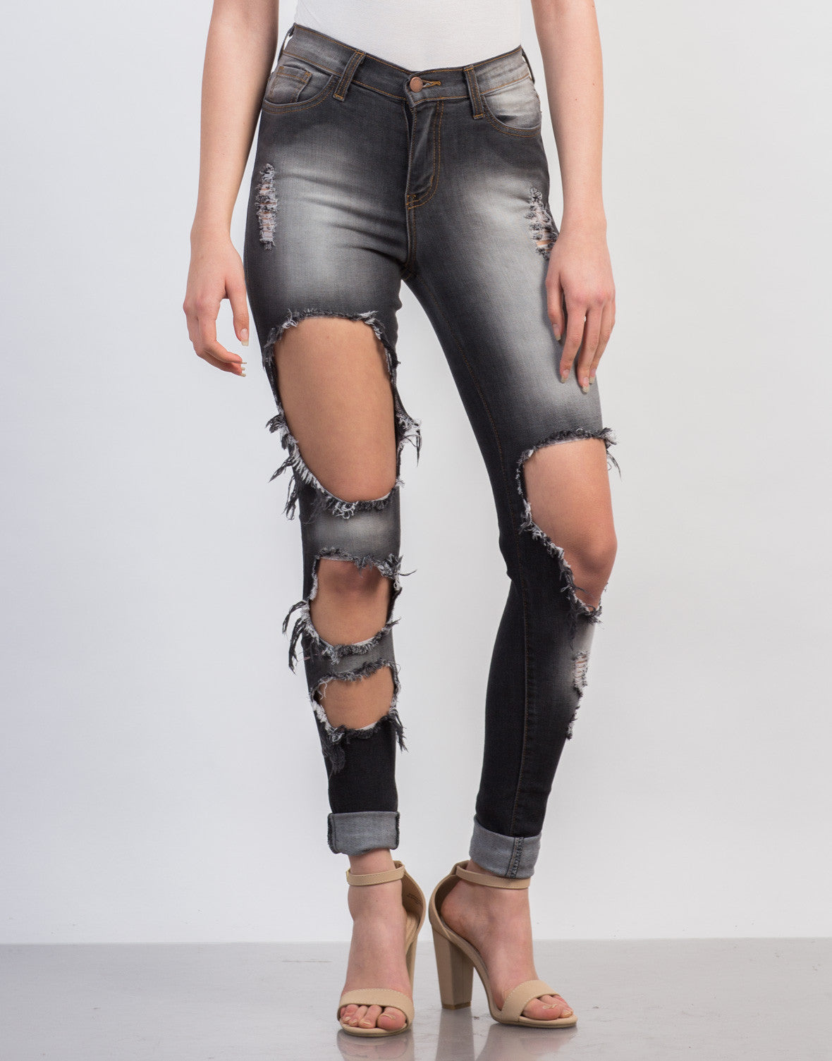 Front View of Faded Holey High Waisted Jeans