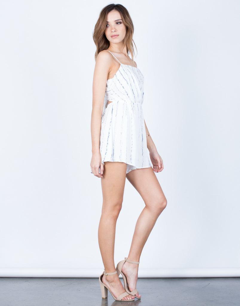 Side View of Faded Lines Romper