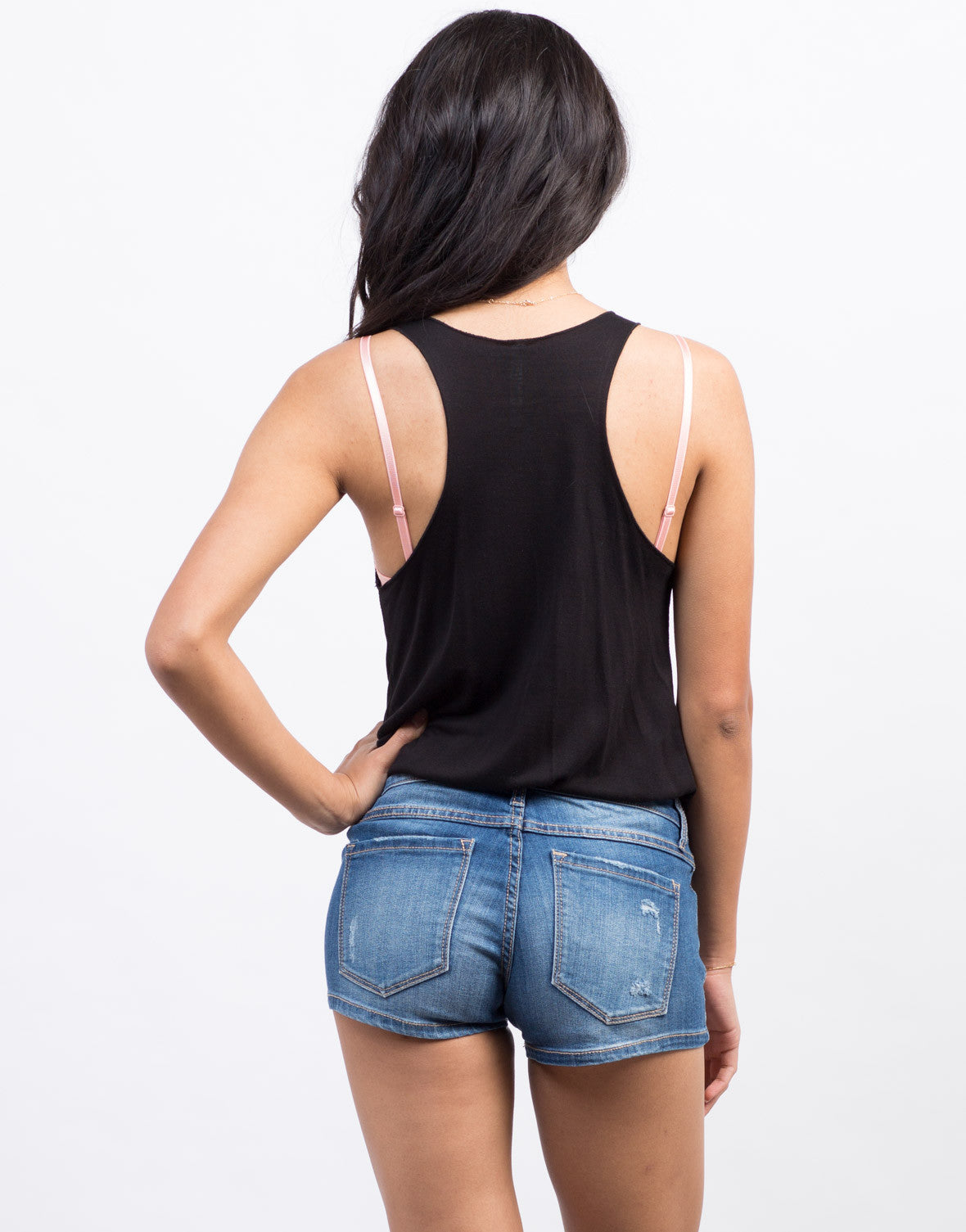 Back View of Faded Wash Denim Shorts