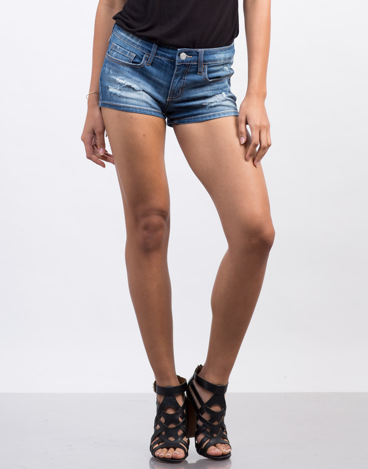 Front View of Faded Wash Denim Shorts
