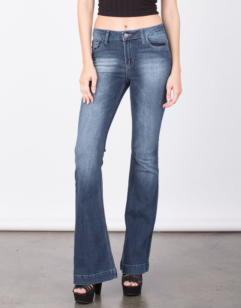 Faded Wash Super Bell Bottom Jeans - 2020AVE