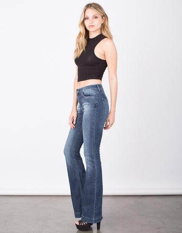 Side View of Faded Wash Super Bell Bottom Jeans