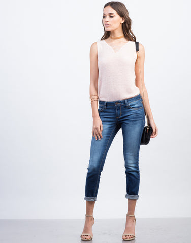 Front View of Faded Cropped Skinny Jeans