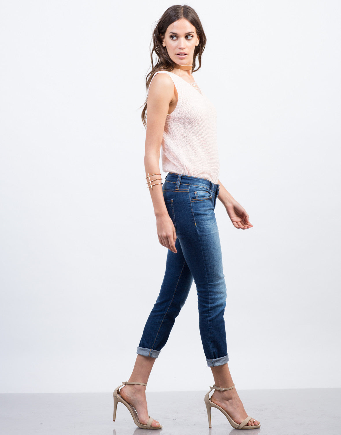 Side View of Faded Cropped Skinny Jeans