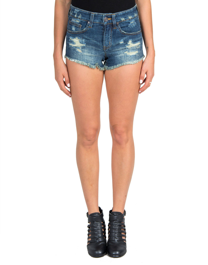 Faded Denim Shorts - Blue - 2020AVE