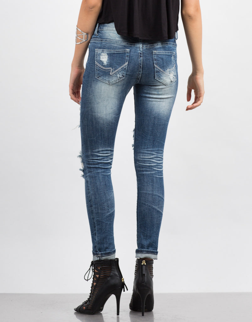 Faded Distressed Rolled Up Jeans - 2020AVE