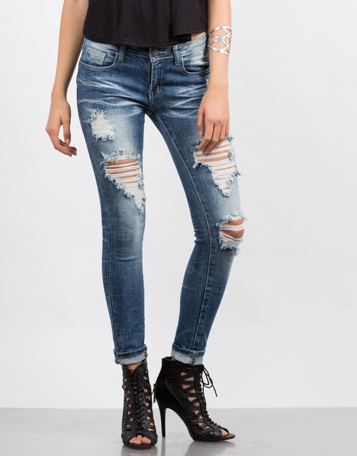 Front View of Faded Distressed Rolled Up Jeans