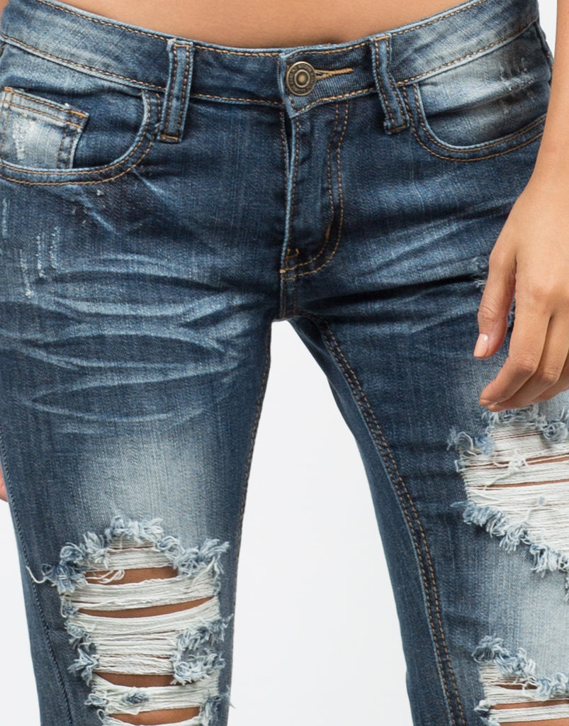 Faded Distressed Skinny Jeans - 2020AVE