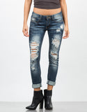 Front View of Faded Distressed Skinny Jeans