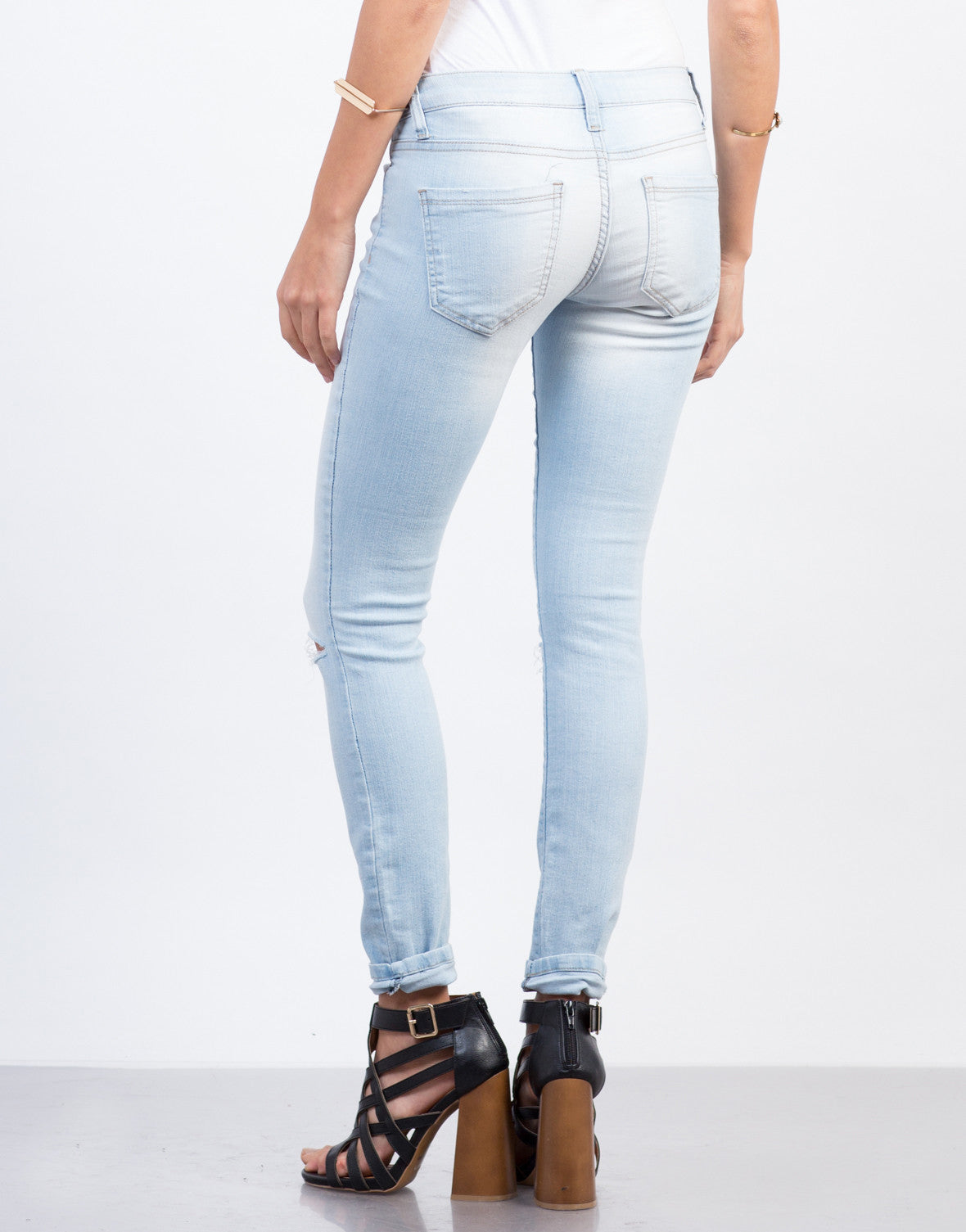 Back View of Faded Knee Slit Jeans