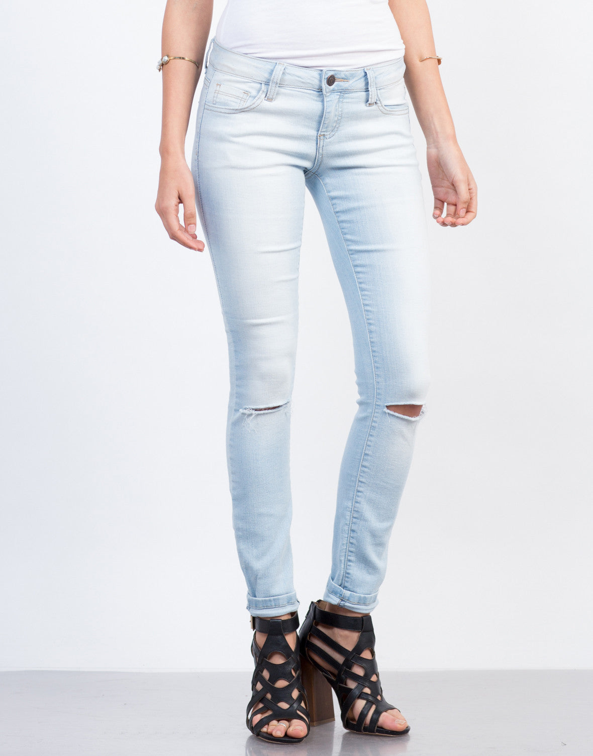 Front View of Faded Knee Slit Jeans