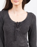 Detail of Faded Lace Up Top