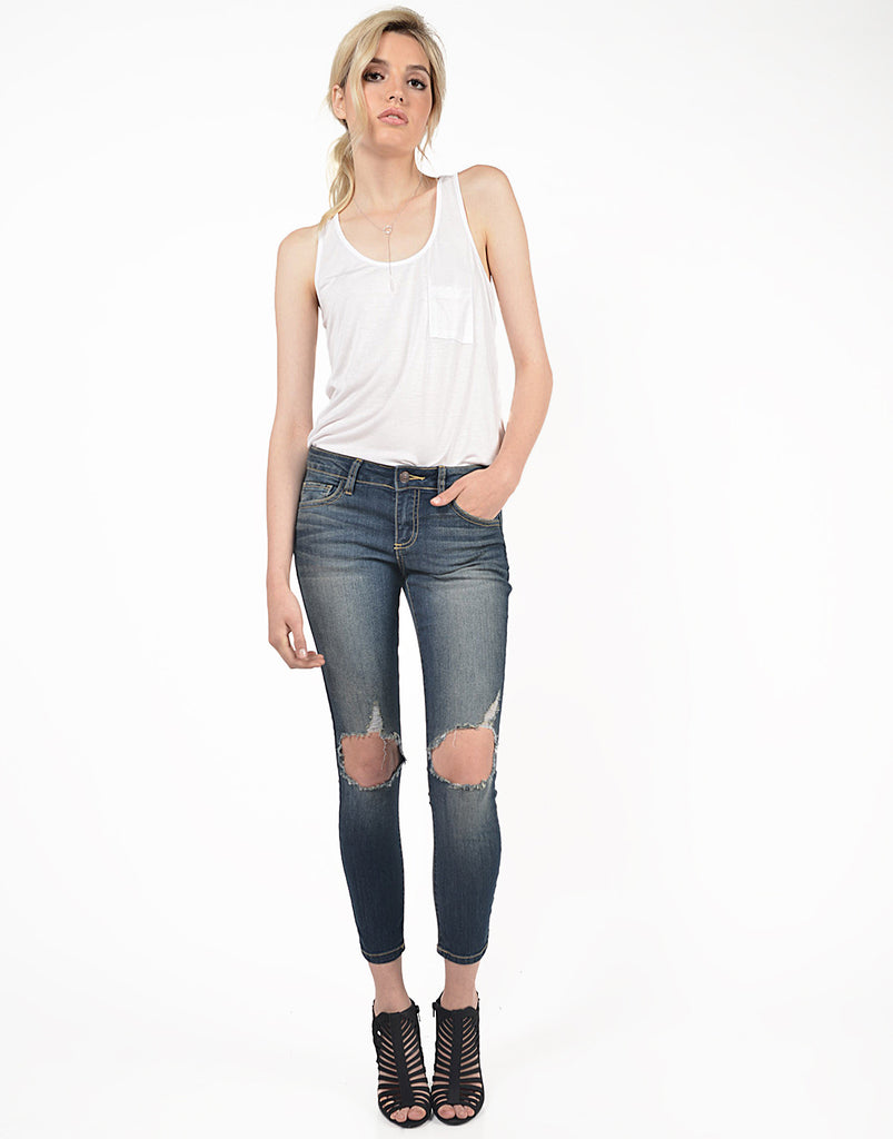 Faded Washed Ripped Jeans - 2020AVE