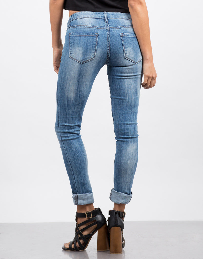 Faded Wash Skinny Jeans - 2020AVE