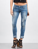 Front View of Faded Wash Skinny Jeans