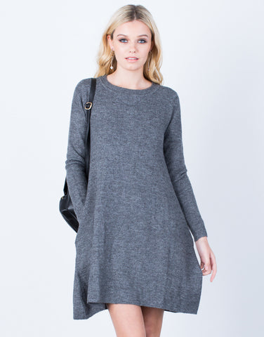 Front View of Fall into Comfort Sweater Dress
