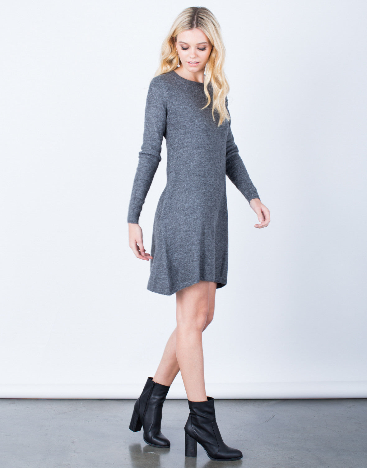 Side View of Fall into Comfort Sweater Dress