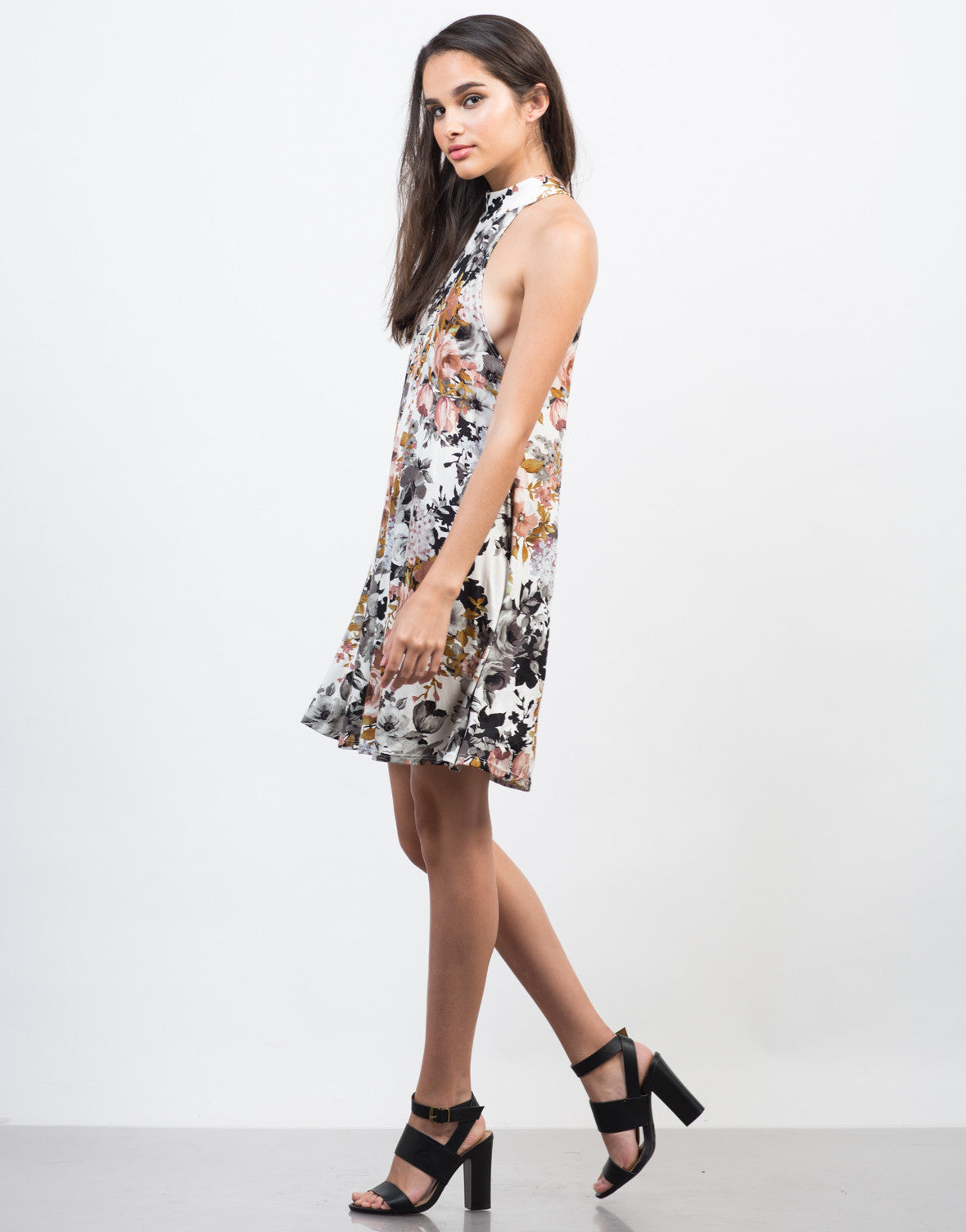 Side View of Fallin' for Florals Dress