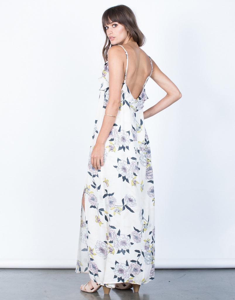 Back View of Falling for Floral Dress