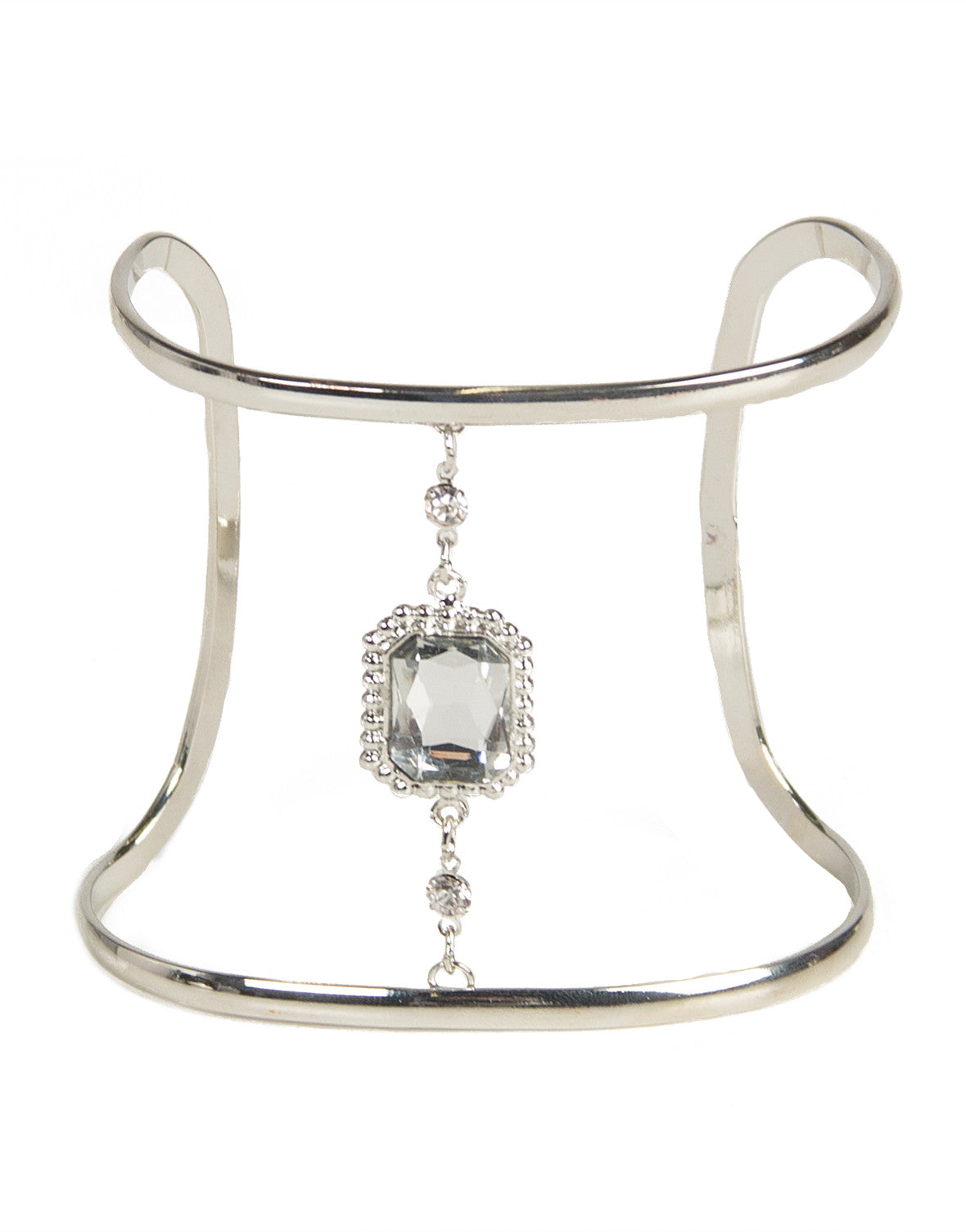 Fancy Jeweled Curve Cuff - Silver - 2020AVE