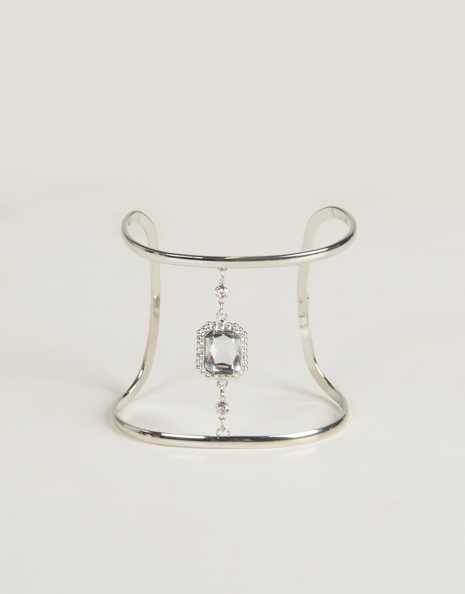 Fancy Jeweled Curve Cuff - Silver