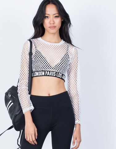 White Fashion Capital Fishnet Top - Front View