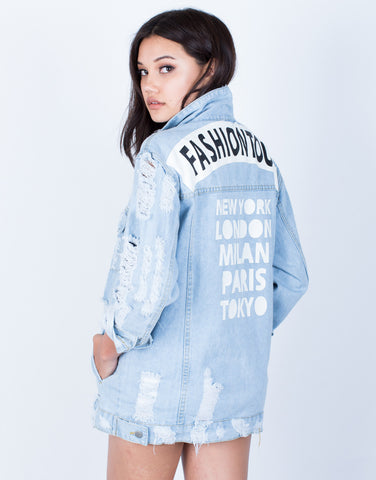 Back View of Fashion Tour Denim Jacket