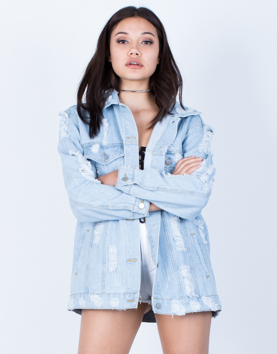 Front View of Fashion Tour Denim Jacket