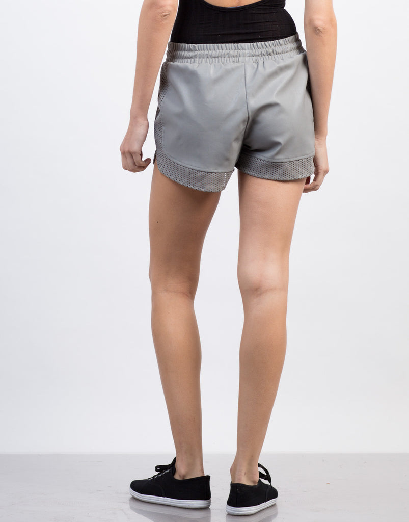 Faux Leather Gym Shorts - 2020AVE