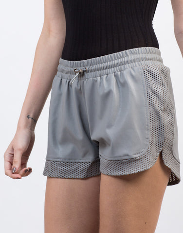 Detail of Faux Leather Gym Shorts