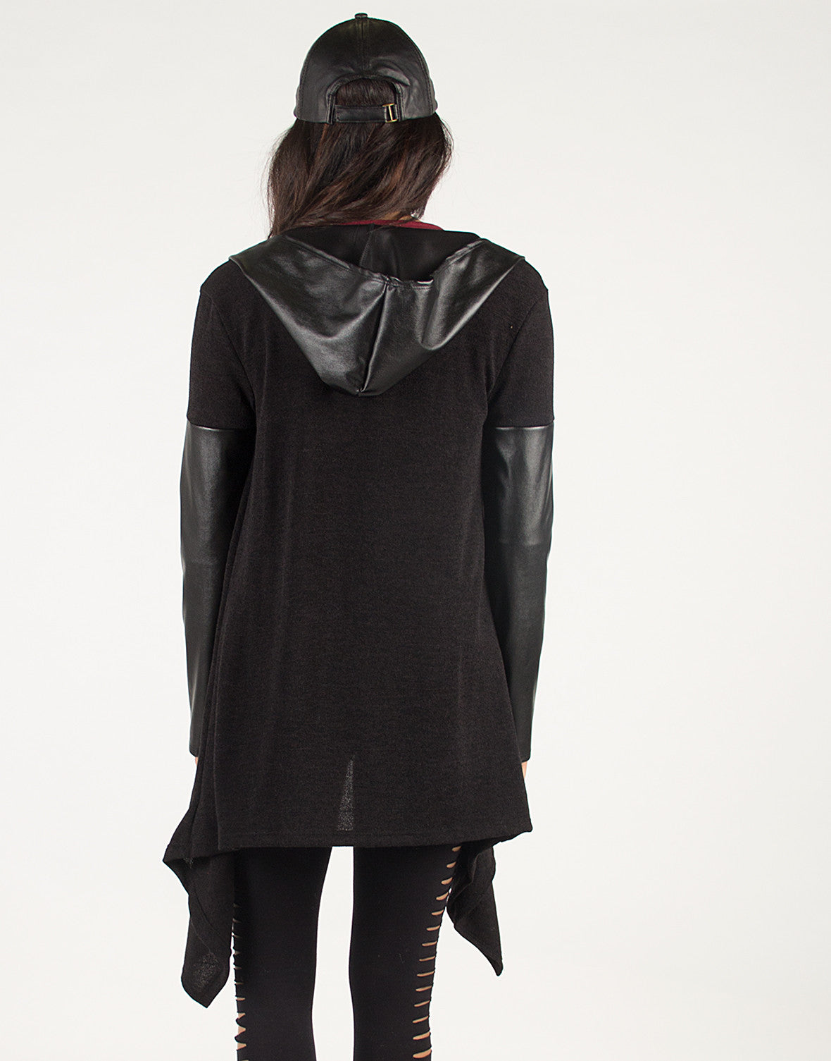 Faux Leather Hooded Cardigan