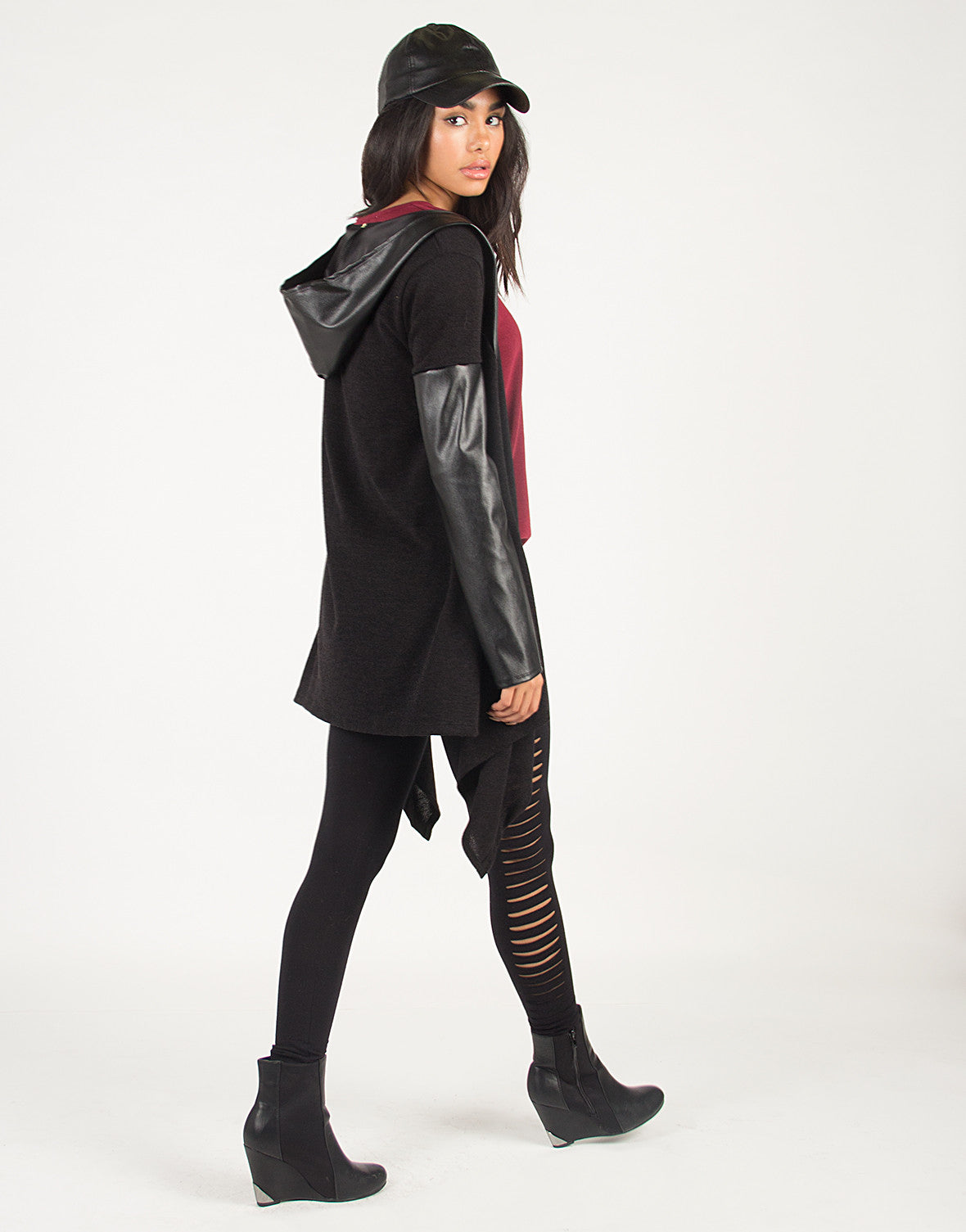 Faux Leather Hooded Cardigan - 2020AVE