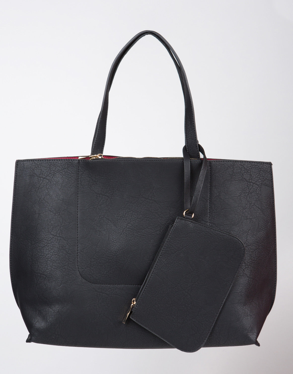 Front View of Faux Leather Tote Bag