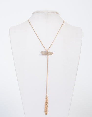 Feather Drop Stone Necklace - 2020AVE