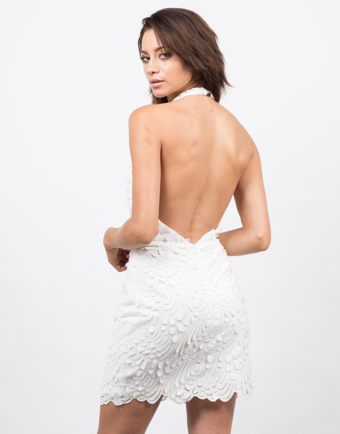 Back View of Feathered Halter Dress