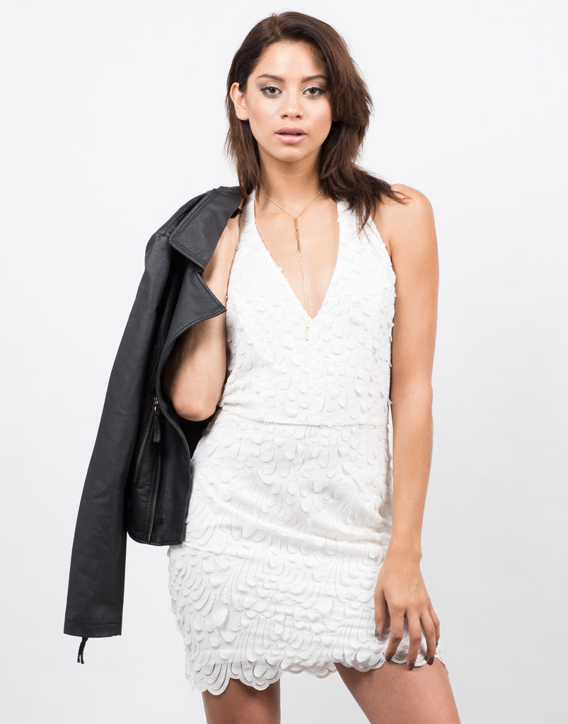 Feathered Halter Dress - 2020AVE