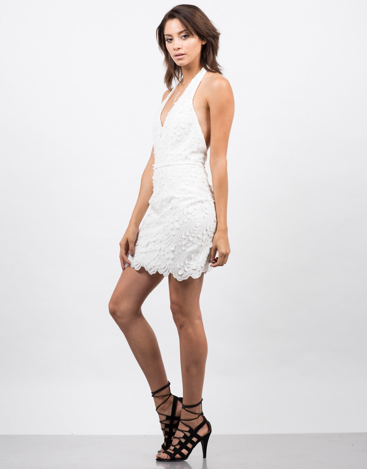 Side View of Feathered Halter Dress