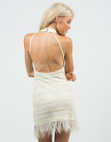 Back View of Feathered Lacey Dress