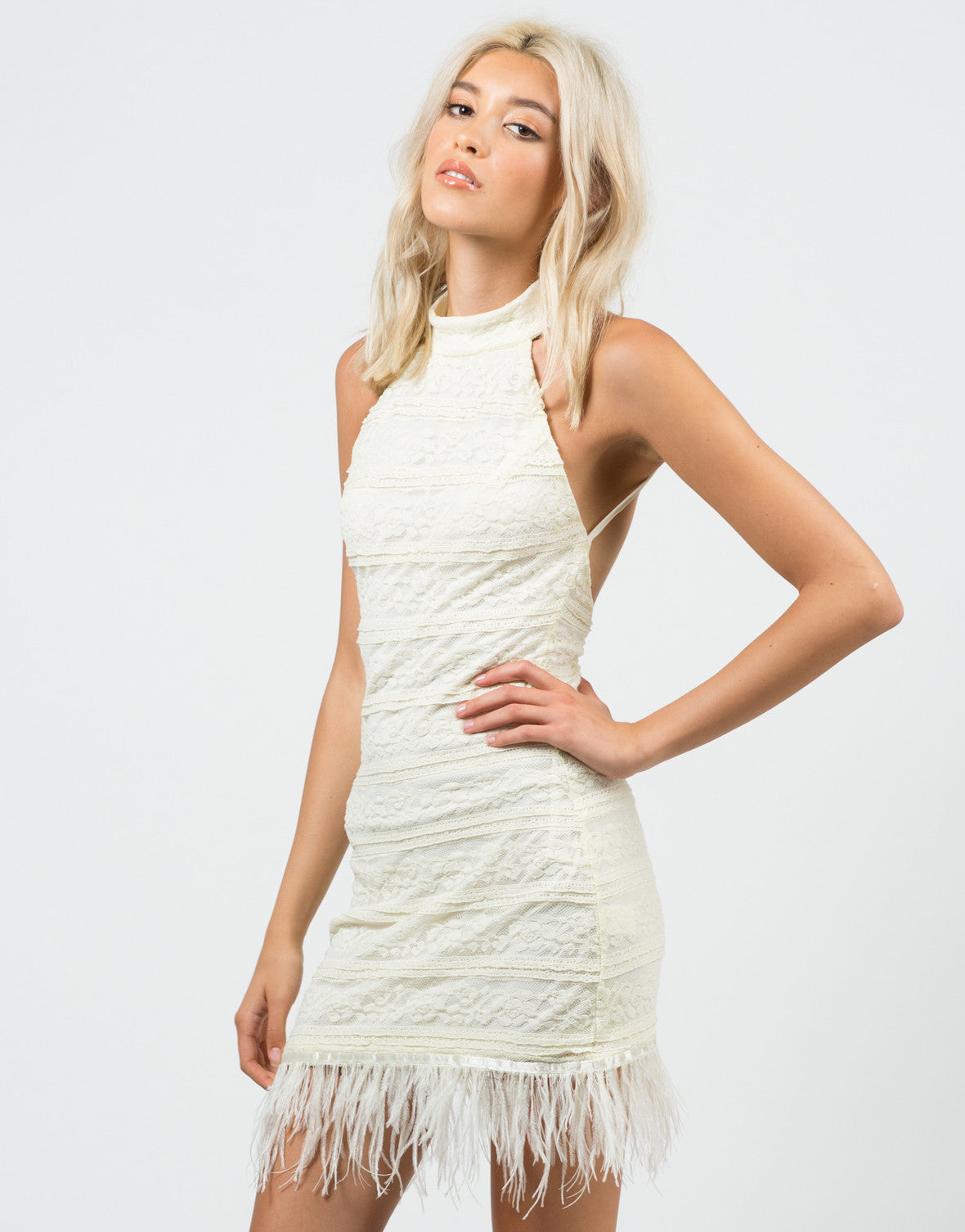 Front View of Feathered Lacey Dress