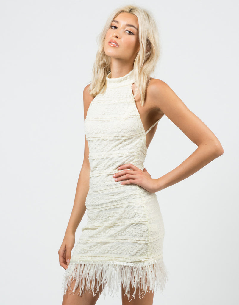 Feathered Lacey Dress - 2020AVE