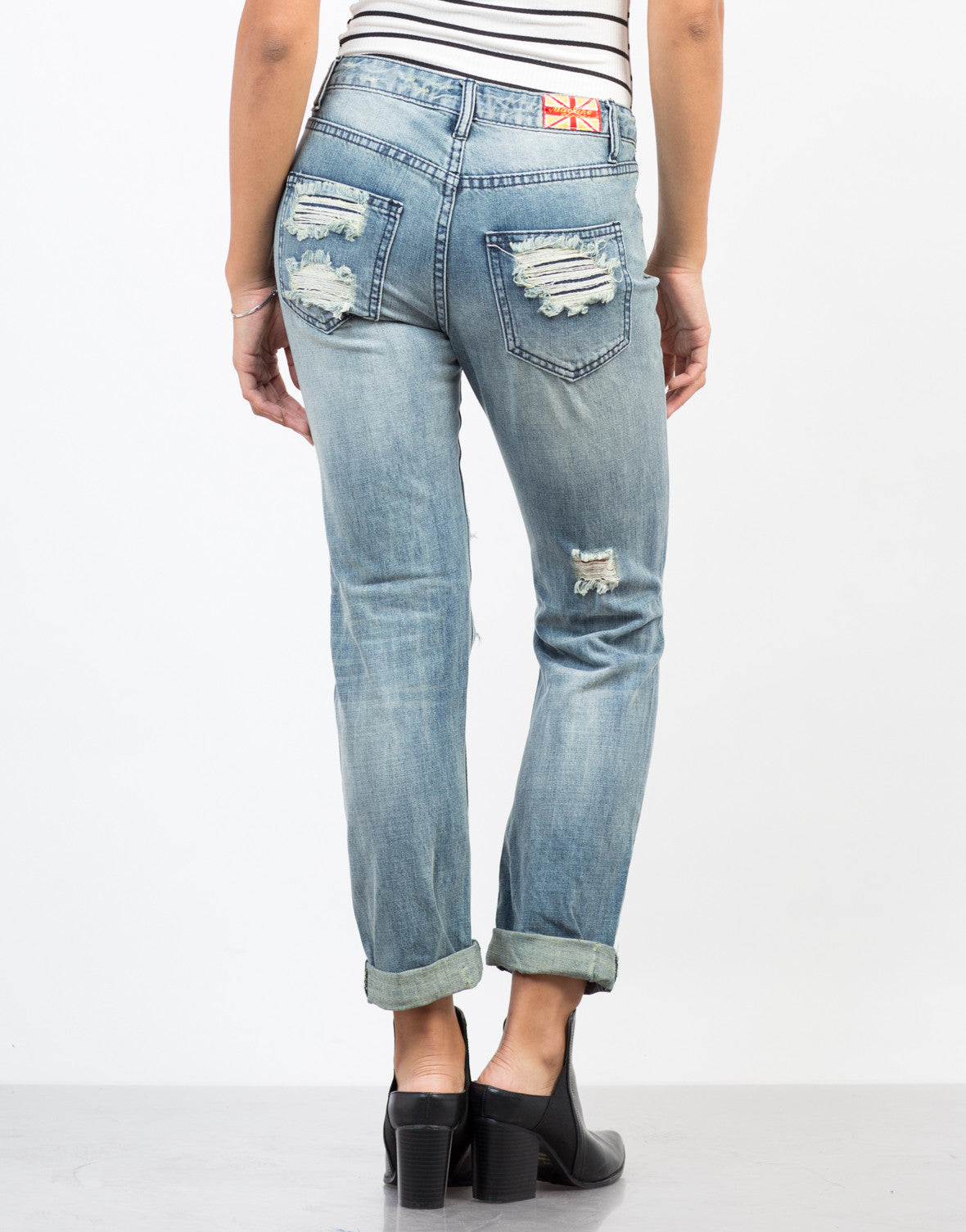 Back View of Feelin' Torn Up Boyfriend Jeans