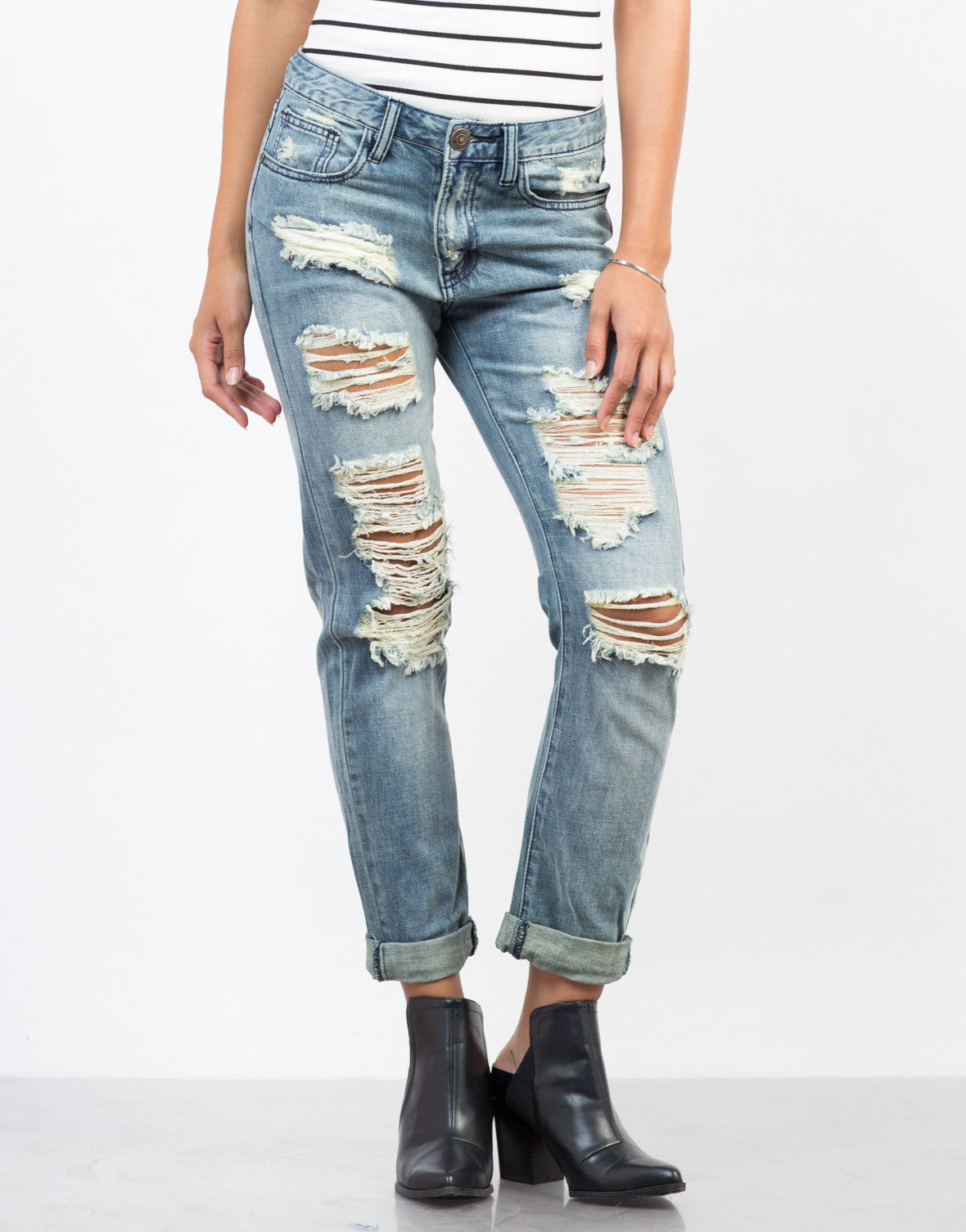 Front View of Feelin' Torn Up Boyfriend Jeans