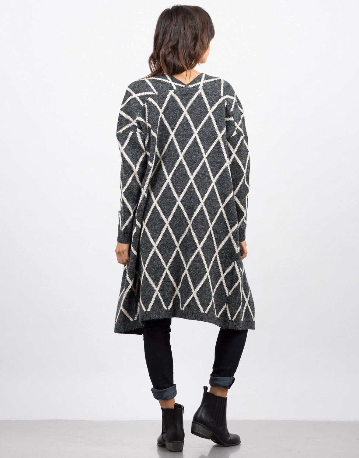 Back View of Fenced Sweater Cardigan