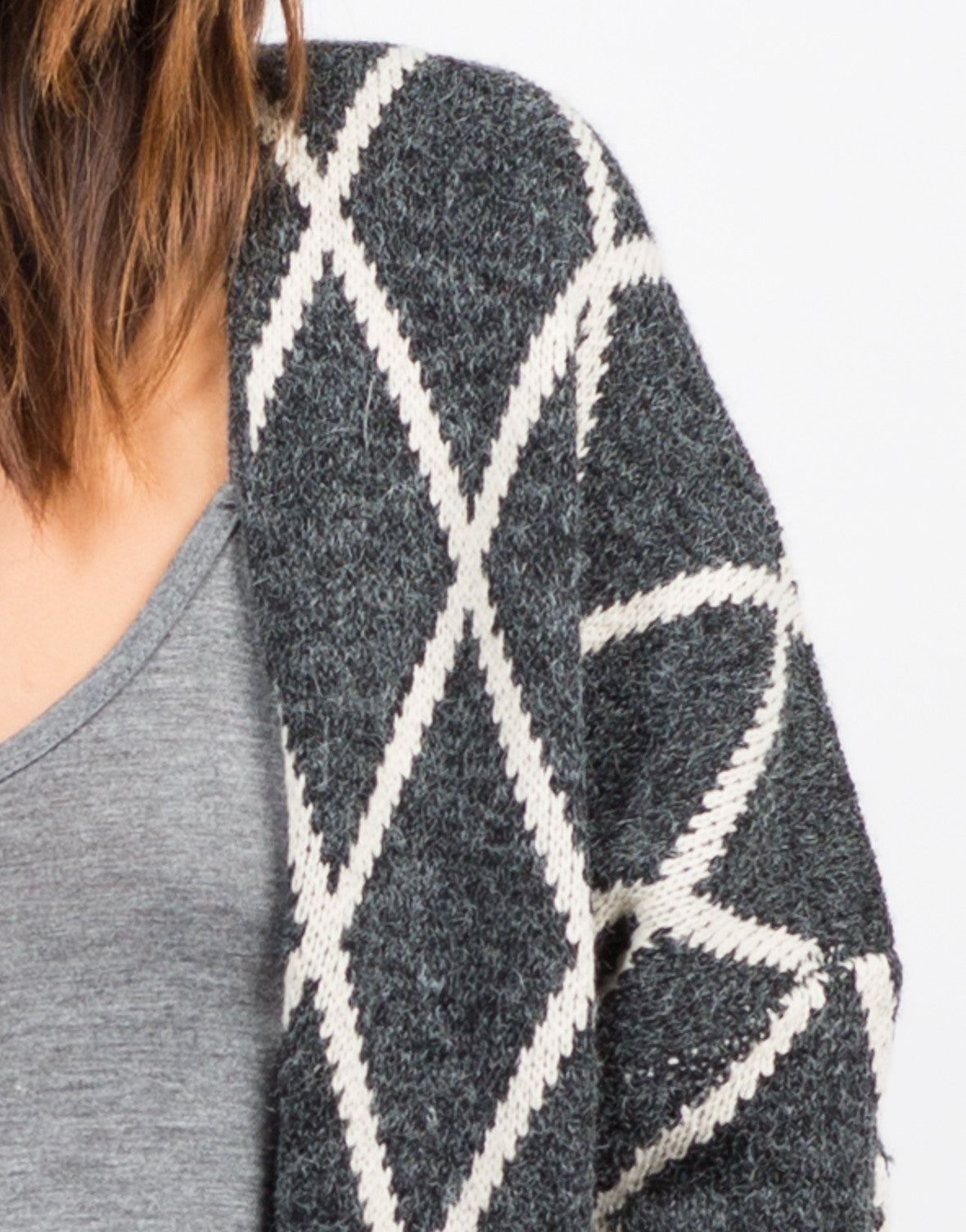 Detail of Fenced Sweater Cardigan